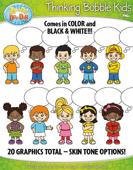 Thinking Bubble Kid Characters Clipart — Includes 20 Graphics!