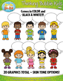 Thinking Bubble Kid Characters Clipart {Zip-A-Dee-Doo-Dah Designs}