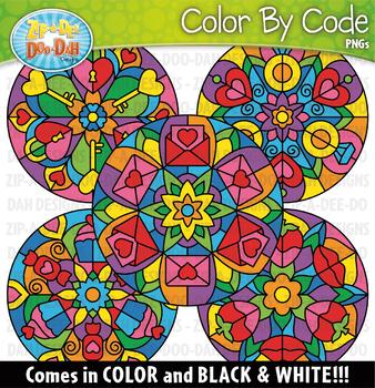 Valentine's Day Mandalas Color By Code Clipart {Zip-A-Dee-Doo-Dah Designs}