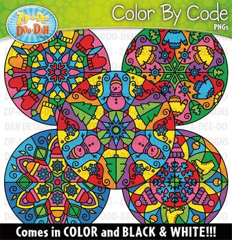 Winter Mandalas Color By Code Clipart {Zip-A-Dee-Doo-Dah Designs}