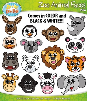 Zoo Animal Faces Clipart Set — Includes 30 Graphics!