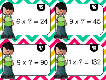 Multiplication & Missing Factors Task Cards