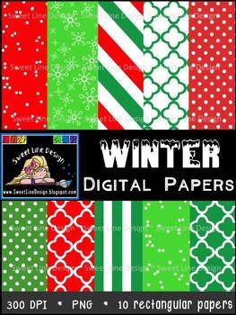 Winter Digital Papers {Sweet Line Design Clipart}