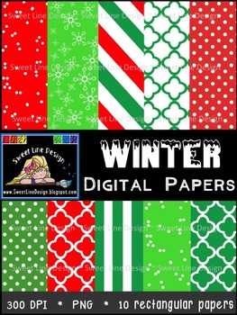 Winter Digital Papers {Sweet Line Design Clipart}