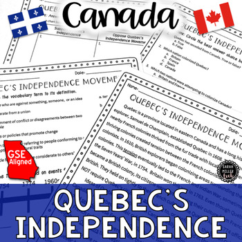 Quebec's Independence Movement Reading Activity (SS6H2)