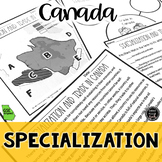 Specialization in Canada Reading & Writing Activity (SS6E5
