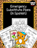 Emergency sub plans in Spanish for kindergarten (cat theme)