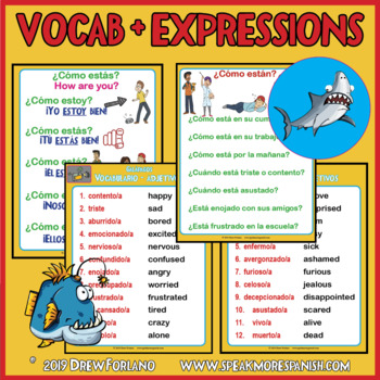 ESTAR with Spanish Emotions Adjectives. Spanish Writing and ESTAR worksheets