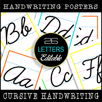 Cursive Handwriting Posters / Editable / Classroom Bulletin Display!