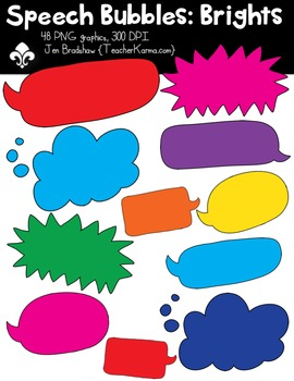 {$1 SALE} Speech Bubbles: Brights Clipart ~ Commercial Use