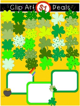 $1 St. Patrick's Day Shamrocks and 4 Leaf Clovers w/ Signs Clip Art DOLLAR DEAL