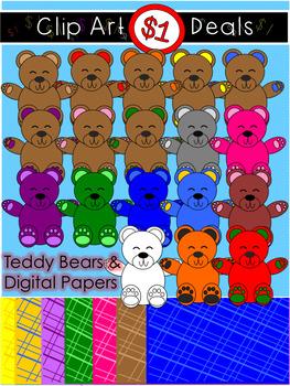 $1 Teddy Bear Clip Art and Digital Paper Dollar Deal 11