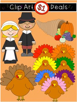 1 thanksgiving pilgrims colorful turkey clip art dollar deal 10