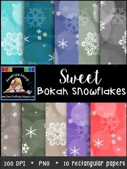 Winter Snowflake-Bokeh Digital Paper {Sweet Line Design}
