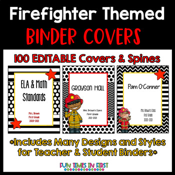 EDITABLE Binder Covers and Spines | Firefighter Theme