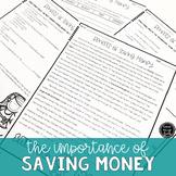 The Importance of Saving Money Reading & Writing Activity (SS6E13, SS6E13c)