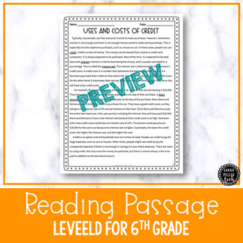 Uses & Costs of Credit Reading Activity (SS6E13d, SS7E10d)