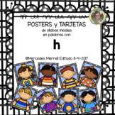 POSTERS y TARJETAS de sílabas iniciales en palabras con h (en ESPAÑOL)