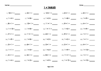 (1 x) One Multiplication / Times Tables Worksheets / Booklet