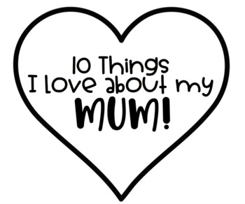 '10 Things I Love About My Mum' Mother's Day Gift Tags