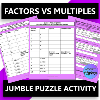 $100,000 Pyramid Game Show Activity…Factors VS Multiples
