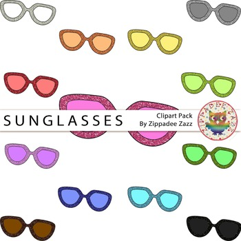 Glitter Sunglasses Clipart - Summer / Glitter / Beach
