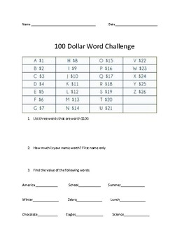 100 dollar word challege