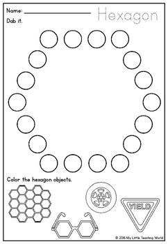 Shapes Dab & Color Worksheet {100th follower freebie}