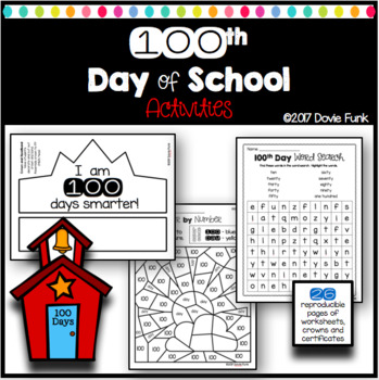 100th Day of School Activities Math, Writing Worksheets and Certificates