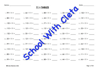 (÷11) Simple Division By Eleven Mental Maths / Drill Worksheets / Booklet