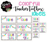 *106* Colorful Teacher Toolbox Labels (Pom Pom Garland)