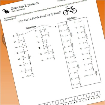 #114 - One-Step Equations (Fractions) Riddle