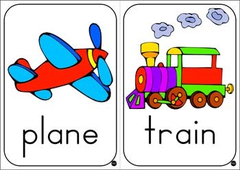 # 12 Colored Transport Flashcards + 36 Black & White ...