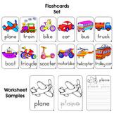 # 12 Colored Transport Flashcards + 36 Black & White Worksheets