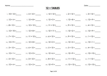 BUNDLE: (0x to 12 x) Twelve Multiplication / Times Tables Worksheets / Booklet