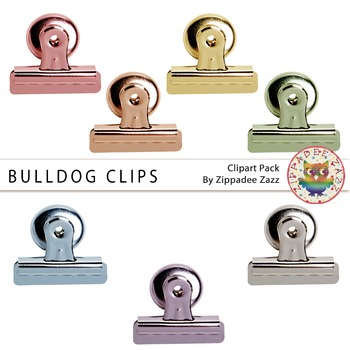 Rainbow Bulldog Clips Clipart - Back to School/Fasteners