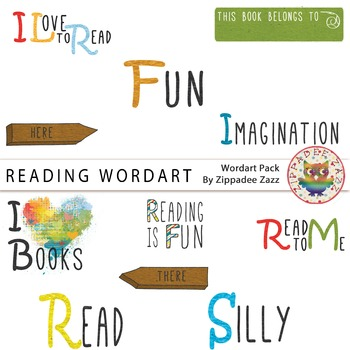 Reading Wordart Clipart -Reading / English / Literacy