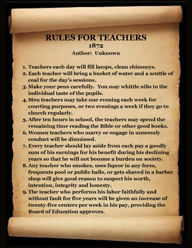 "1872 RULES FOR TEACHERS! -  ""My, How Time has Changed . . ."""