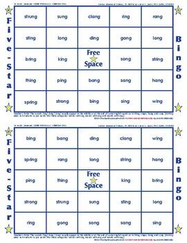 #19 ING, ANG, and ONG Words Bingo Card Game