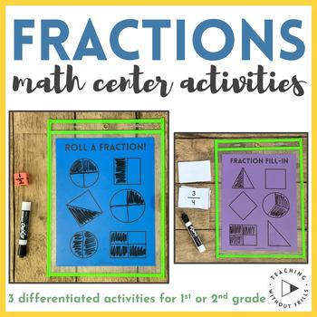  1st Grade, 2nd Grade  Roll a Fraction Math Center Dice Game