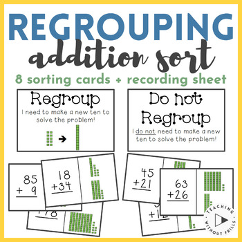 |1st Grade Common Core 1.NBT.C.4| 2-Digit Addition Regrouping Sort Math Center