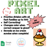 ÷2-12 Division Pixel Art! Reveals an Ice Cream Sundae on Google Sheets!
