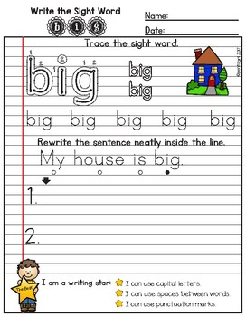 Write the Sight Word Notebook