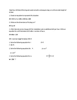 #2 Algebra Solving Equations and Inequalities Learning Check with Answer Key