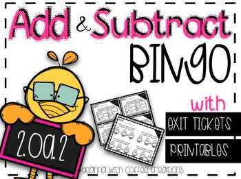 2.OA.2 - Add & Subtract BINGO with Exit Tickets/Printables