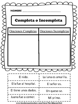 #2 Oraciones Completas - Oraciones Incompletas- (Complete-Incomplete Sentence)