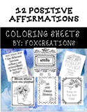 12 Positive Affirmations Coloring Sheets ~ Growth Mindset