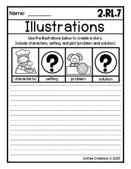 2.RL.7 - Using Illustrations - Printables, Mini Book, Journal Prompts