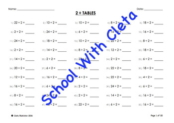 (÷2) Simple Division By Two Mental Maths / Drill Worksheets / Booklet