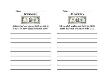 $2 Summary Exit Ticket
